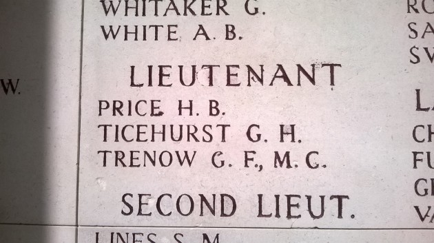 Inscription on the Menin Gate of Liz Trenow's relative